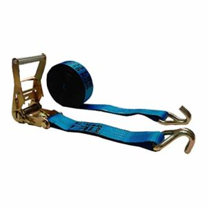 2 Inch x 30 Foot Blue Ratchet Tie Down Strap with J Wire Hooks - Pack of 6