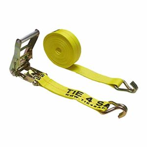 2 Inch x 30 Foot Yellow Ratchet Tie Down Strap with J Wire Hooks - Pack of 2