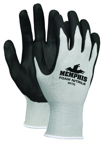 MCR Safety 9673XL Memphis Foam Seamless Nylon Knitted Gloves with Black Foam Nitrile Dipped Palm and Fingers