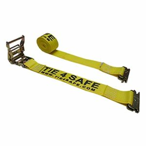 Tie 4 Safe 2 Inch x 12 Foot Yellow Ratchet Logistic Straps with E Fittings - Pack of 10