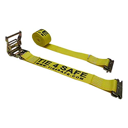 Tie 4 Safe 2 Inch x 12 Foot Yellow Ratchet Logistic Straps with E Fittings - Pack of 4