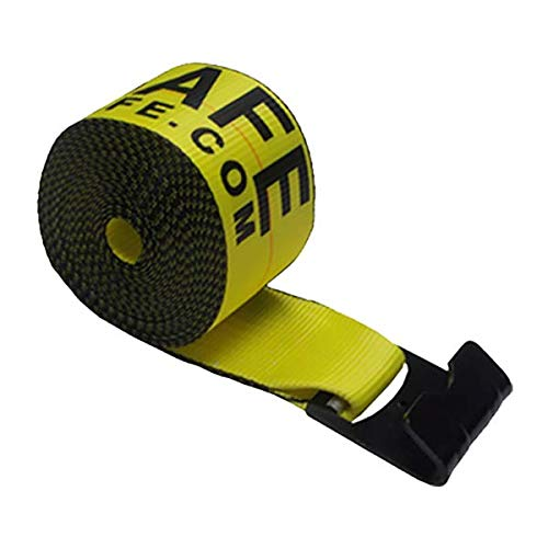 Tie 4 Safe 4 Inch x 30 Foot Yellow Winch Straps with Black Flat Hook - Pack of 2